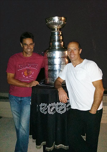 Strength coach and Massage Therapist Evano Masini with the Stanley Cup